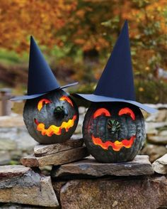 Halloween Decorating: Witch Jack-o-Lanterns -- Bumpy, lumpy, and greenish gray, these Hubbard squashes have the perfect complexions for making warty witch jack-o'-lanterns.