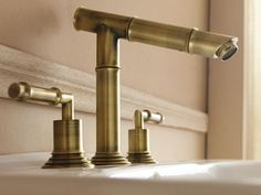 Bamboo Three Hole Deck Mount Bathroom Faucet