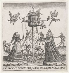Duiventil vol vliegende narren, Johann Theodor de Bry, Monogrammist BKGF, 1596