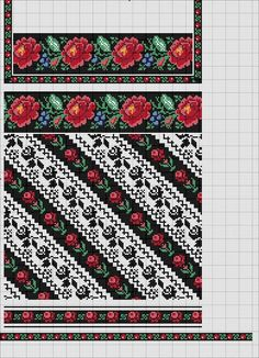 Folk Embroidery, Embroidery Patterns Free, Loom Patterns, Cross Stitch Embroidery, Cross Stitch Borders, Cross Stitch Rose, Cross Stitching, Cross Stitch Patterns, Palestinian Embroidery