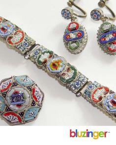 Antique MICRO MOSAIC Jewelry * Brooch Pin * Bracelet * Earrings from Italy