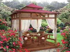 Fabulous Diy Backyard Gazebo Design And Decorating Ideas 06 Indoor Outdoor Living, Outdoor Rooms, Outdoor Gardens, Outdoor Decor, Outdoor Furniture, Wooden Gazebo, Gazebo Plans, Backyard Gazebo, Ideas Para Organizar