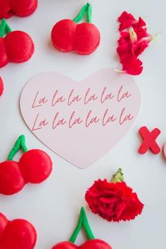"""La La La"" Heart Signage from a Cherry Love Party on Kara's Party Ideas 