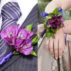 Purple peruvian lilies boutonnieres and corsages, in a combination yours to choose, prearranged flowers to save time and money on your wedding day! Peruvian Lily Wedding Bouquet, Lily Bouquet Wedding, Wedding Flowers, Wedding 2015, Dream Wedding, Peruvian Lilies, Tie The Knots, On Your Wedding Day, Wedding Styles