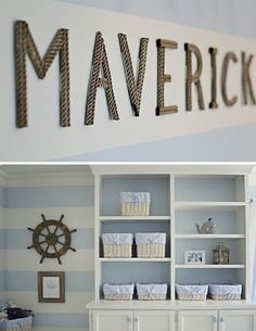 Blue and White Nautical Nursery - Nautical Rope Letters