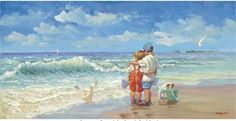 "Lucelle Raad Handsigned Open Edition Canvas Giclees: ""Summer Days (aka Beach Buddies) """