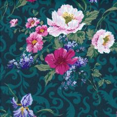 This is a large scale floral print with light and dark pink poppies and blue irises on a teal damask background. This would be beautiful as a