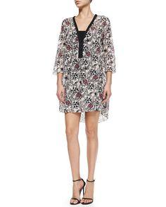 T941D Thakoon Addition Scroll-Print Dress W/ Half Placket