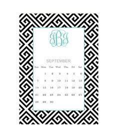 Free Printable Monogram Calendar September from printablemonogram.com
