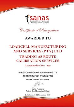 We have been presented by SANAS a Certificate of Recognition - A Wonderful Achievement by the team for more than 20 Years maintaining our Calibration Accreditation. Calibration of Scales and Mass Pieces Enquiries and FREE Quotations: Contact: +27 (11) 615-7068/88 JHB or +27 (12) 327-7312/14 PTA E-mail: loadcell.manufacturing@gmail.com or sales@routecalibration.co.za Recognition Awards, Pta, 20 Years, Certificate, Quotations, Free, Quotes, Quote, Shut Up Quotes