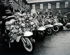 Mods with theirs scooters in Collyer Place, Peckham, London circa 1963