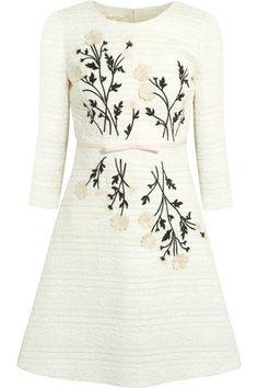 Giambattista Valli | Besticktes Tweed-Kleid aus einer Baumwollmischung mit Applikationen | NET-A-PORTER.COM