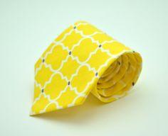 Bright Yellow and Gray Latticework  Men's Necktie by MeandMatilda