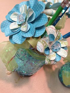 Mason Jar paper flower bouquets cut on my Silhouette Cameo by krista_k33, via Flickr