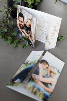 Folding wedding invitations with couples pictures!