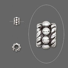 Bead, antiqued sterling silver, 5x4mm beaded rondelle. Sold per pkg of 24.