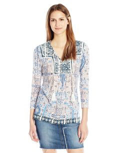 Lucky Brand Women's Printed Peasant Top ** You can get more details here : Fashion