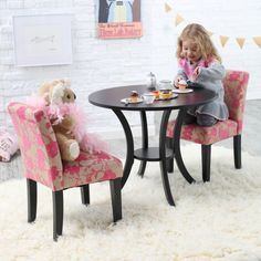 Classic Playtime Plum Garden Pedestal Table and Parsons Chairs Set - Activity Tables at Hayneedle