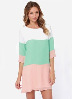 Shop White Green Pink Color Block Dress online. Sheinside offers White Green Pink Color Block Dress & more to fit your fashionable needs. Free Shipping Worldwide!