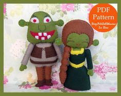Shrek and Fiona. Halloween pattern. Halloween Decoration.Felt Doll. Felt pattern. PDF Pattern. Sewing pattern. Felt Crafts.