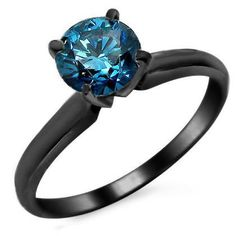 .61ct Blue Amazing Round Diamond Solitaire Black Gold Ring 14k (979$)