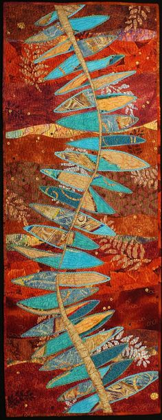 Handmade Art Quilt - Fossil Points.  via Etsy. Good inspiration for free form cutting and piecing.