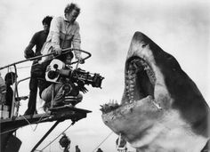 Spielberg ready to line up that famous shot of the Shark coming up out of the water.