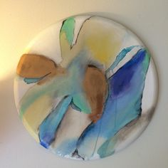 24x24 abstract on round canvas. Available