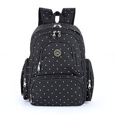 Amazon.com : Baby Diaper Bag Smart Organizer Waterproof Travel Diaper Backpack with Changing Pad and Stroller Clips (Black Dot) : Baby