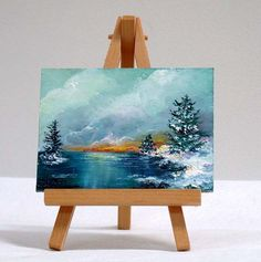 Winter scene, 3x4, original, landscape, pine trees, small painting by valdasfineart on Etsy Available