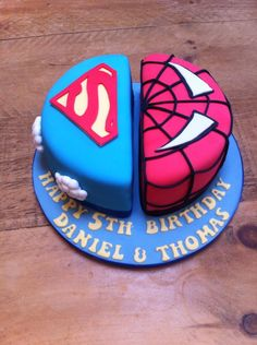 Superhero Cake - Split design - Cake by Natalie's Cakes & Bakes Half Birthday Cakes, Novelty Birthday Cakes, Cupcake Birthday Cake, Birthday Cake Decorating, Birthday Cookies, Boy Birthday, Cupcake Cakes, Twin Boys Birthdays, Halloween Wedding Cakes