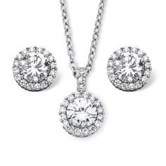"""Pretty Jewellery 14K White Gold Fn S925 W/ White CZ & Sim Diamond Solitaire Halo Pendant & Earring Set. Metal : 925 Sterling Silver, Metal Finish : White Gold Finish. Main Stone : White CZ & Simulated Diamond, Main Stone Colour : White. Stone Clarity : NA & VVS1, Stone Shape : Round. Chain Length : 18"""" Length, Earrings Back Finding : Screw Back, Gender : Womens. Style : Solitaire Halo Pendant & Earring Necklace Set."""