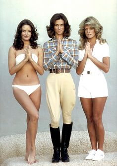 Charlies Angels from the 1970s TV series: Jaclyn Smith (in the bikini), Kate Jackson (in the riding outfit) & Farrah Fawcett (in shorts). Which was your favourite?