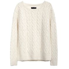 HAND KNIT ZAG STITCH OVERSIZED PULLOVER (855 CAD) ❤ liked on Polyvore featuring tops, sweaters, hand knitted sweaters, white pullover sweater, over sized sweaters, alpaca wool sweater and white top