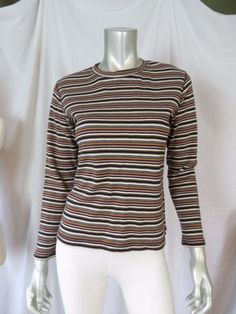 WHITE STAG M 100% Cotton Scoop Neck Browns, Green, Black, White Blouse Top Shirt | eBay