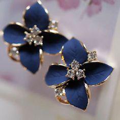 New Crystal Four-Leaf Clover Blue Flower Party Ear Stud Earrings