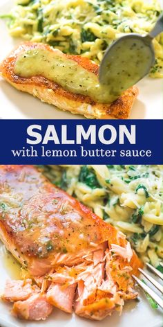salmon recipes This Easy Lemon Butter Salmon recipe makes an elegant and delicious dinner. Seared in a skillet on the stove top and ready in under 20 minutes! Cooktoria for more deliciousness! Baked Salmon Recipes, Chicken Recipes, Salmon Stovetop Recipes, Recipes For Salmon Filets, Salmon Belly Recipes, Recipes With Fish, Salmon Marinade Baked, Maui Maui Fish Recipes, Sous Vide Salmon Recipes