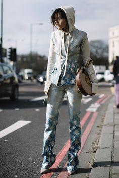Attendees at London Fashion Week Fall 2017 - Street Fashion