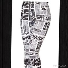 Newsprint leggings Sizes are small to XL. Material spandex and cotton Pants Leggings
