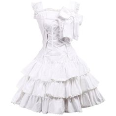 Partiss Women's Bow Ruffles Lace Cute Sweet Retro Victorian Lolita... ($55) ❤ liked on Polyvore featuring dresses, victorian lace dress, white cocktail dresses, white lace cocktail dress, bow dress and ruffle dress