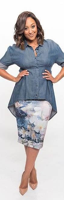 Denim asymmetrical top, floral skirt with nude pumps. Dressing Your Truth type 2 Tamara Mowry- Housley.