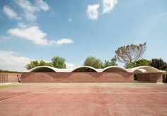 Curving vaults give Mesura's red brick extension to IV House in Spain's Alicante province a scalloped roofline Spanish Architecture, Architecture Design, Architecture Interiors, Contemporary Architecture, Brick Extension, Garden Pavilion, Best Architects, Residential Architect, Concrete Garden