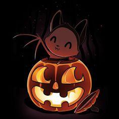 Get the black Bat-o-Lantern t-shirt only at TeeTurtle! Halloween Illustration, Halloween Drawings, Halloween Art, Happy Halloween, Cute Animal Drawings, Kawaii Drawings, Cute Drawings, Cute Animal Quotes, Cute Animals