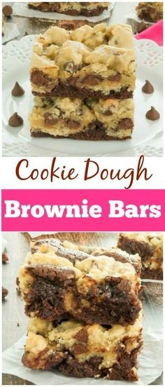 A mouthwatering cookie dough brownie recipe that consists of a fudgy brownie layer and a soft, chewy chocolate chip cookie layer.