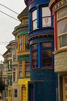 "Back view of the gorgeous intoxicating Victorian ""Painted Ladies"" row house from the Haight Ashbury neighborhood in San Fransisco. -  beautiful jewel tones..."