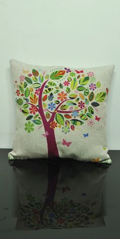 Linen pillow tree Housewares Tree Pillow bird Pillow cover Nature Cushion cover brown Home Decor Throw pillow Decorative pillow on Etsy, $21.06 CAD