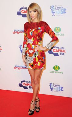 Taylor Swift looks red hot at the Jingle Bell Ball in London!