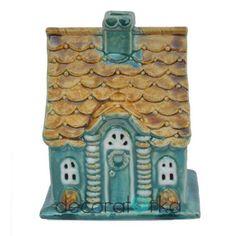 lampion ręcznie robiony, domek ceramiczny