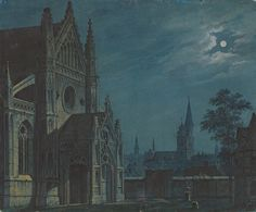 Carl Gustav Carus - Moonlit square in front of a...