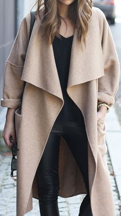 Draped Open-Front Long Coat ❤︎